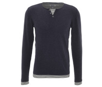 Pullover, Henley-Stil, Lagen-Look, reine Baumwolle, Blau