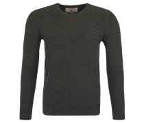 Pullover, Streifen-Strickmuster, reine Baumwolle, Grün