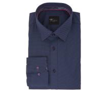 Businesshemd, Slim Fit, gepunktet, Blau