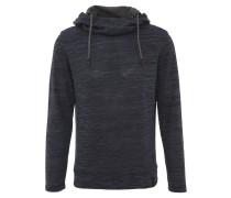 Sweatshirt, meliert, Schlauchkragen, Kapuze, Blau