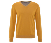 Pullover, Baumwolle, V-Ausschnitt, Rippbündchen, Gelb