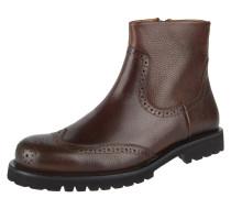 Chelsea Boots, Leder, Lyralochung, Reißverschluss, Profilsohle, Braun