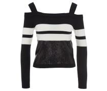 Pullover, Pailletten, zweifarbiges Design, Cut-Outs, Schwarz