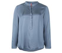 Blusenshirt, Knopfleiste, langer Saum hinten, Blau