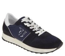 Sneaker, Materialmix, Mesh-Elemente, breite Sohle, Blau