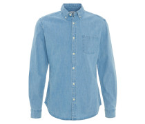 Jeans-Hemd, Regular Fit, Brusttasche, Button-Down-Kragen, Blau