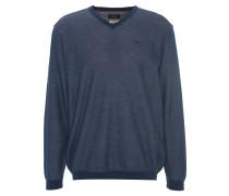 Pullover, meliert, V-Ausschnitt, Blau