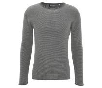 Pullover, Feinstrick, leichte Struktur, Streifen, Grau