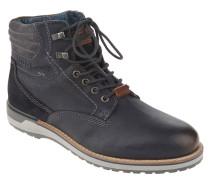 Boots, Leder, Ziernähte, Blau