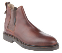 Chelsea Boots, Glattleder, Blockabsatz, Zugschlaufe, Braun