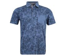 Poloshirt, floral, Brusttasche, Baumwolle, Blau
