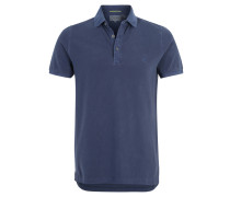 Poloshirt, reine Baumwolle, Used-Waschung, Blau