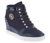 Sneaker, Leder-Mix, Nieten-Verzierung, Embleme, Keilabsatz, Blau