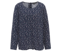 Blusenshirt, Langarm, geometrisches Muster, Knopfleiste hinten, Blau