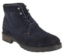 Boots, Velours-Leder, Broguing, Schnürhaken