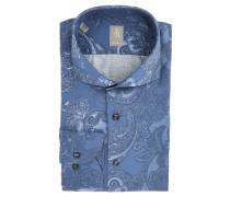 Businesshemd, Comfort Fit, Haifisch-Kragen, Paisley, Blau