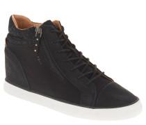 Sneaker, Keilabsatz, Reißverschluss-Details, Schwarz