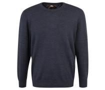Pullover, Baumwoll-Mix, meliert, Rundhals, Blau