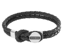 Armband, Leder, 2-reihig, schwarz, EGS2178040