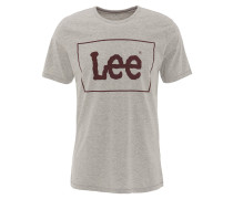 T-Shirt, großer Marken-Print, klassischer Schnitt, Grau