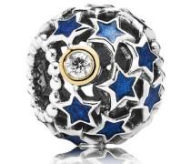 Charm Nachthimmel Silber mit Gold Bicolor mit Emaille und Zirkonia 791371CZ