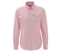 Freizeithemd, Tailored Fit, Langarm, Punkte, Brusttasche, Rot