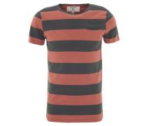 T-Shirt, Blockstreifen, Brusttasche, Baumwolle, Rundhals, Rot