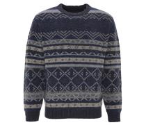 Pullover, Wolle, gemustert, Rundhals, Blau