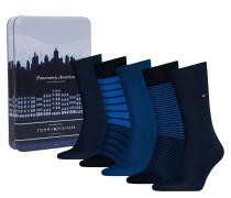 Socken in einer Geschenbox, im 5er-Pack, Streifen, Uni