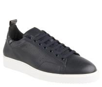 Sneaker, perforiert, Leder, uni, Blau