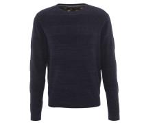 Pullover, Baumwoll-Mix, Strick, meliert, Blau