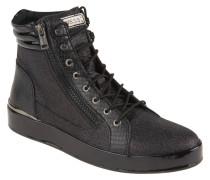 Sneaker, Glitzer, Lack-Details, Schnürung, Schwarz