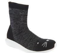 Sneaker, hoher Schaft, elastisches Knit-Material, flexible Sohle, Katzen-Gesicht, Schwarz