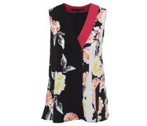 Blusenshirt, Ärmellos, V-Ausschnitt, florales Muster