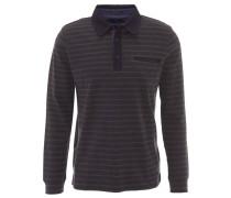 Poloshirt, gestreift, Langarm, Baumwolle, Blau