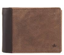 Brieftasche, genarbtes Leder, aufklappbar, Braun
