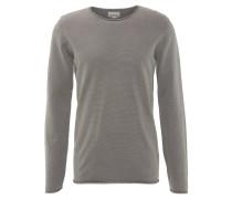 Pullover, Strick, Baumwolle, Rollsäume, Vintage-Look, Grau