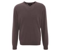 Pullover, Kaschmir, V-Ausschnitt, Rippbündchen, Braun