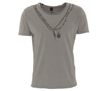 T-Shirt, Ketten-Print, offene Säume, Grau