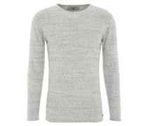 Pullover, Rollsaum, Baumwolle, meliert, Grau