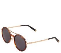 Sonnenbrille, Havanna-Optik, abgerundete Gläser, Doppelsteg