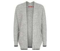 Strickjacke, meliert, Ripp-Struktur, offene Front, Grau