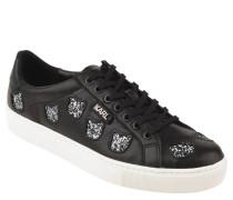 Sneaker, Leder, Glitzer-Elemente, Marken-Logo