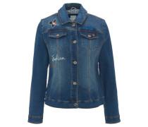 Jeansjacke, Stickerei, Perlen-Details, Taschen-Imitate