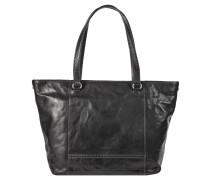 "Shopper ""Lugano"", Leder, Vintage-Stil, Tragegriff, Schwarz"