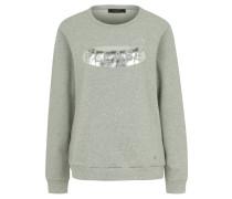 Pullover, Metallic-Druck, Baumwolle, Melange, Grau