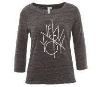 Shirt, 3/4-Arm, leicht, meliert, Print, Grau