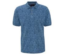 Poloshirt, Ananas-Print, Baumwolle, Blau