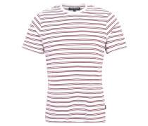 T-Shirt, Streifen-Muster, Reine Baumwolle, Rot