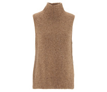 Pullover, ärmellos, Rollkragen, meliert, Woll-Mischung, Braun